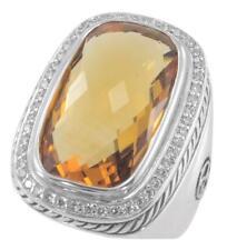 David Yurman Diamond and Elongated Citrine Albion Ring, Size 8