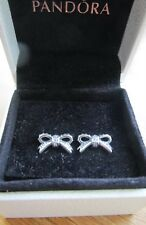 Genuine Pandora Silver Bow Earrings Brand New With Pandora Pouch