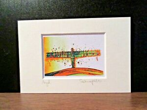 Angel of the North.Mini art print from an original painting by Suzanne Patterson