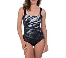 NEW Reebok Laser Focus Silver Grey One piece Swimsuit size 12