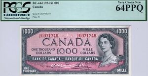 Canada, $1000, 1954, BC-44d, QEII, PCGS Very Choice New 64 PPQ