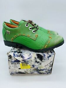 TMA EYES Maia Women's Green Stitch-Accent Leather Oxford - EUR 40 / US 8.5