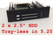 """1x 5.25"""" space to 2x2.5"""" SATA HDD Tray-Less Hot-Swap, NEW"""