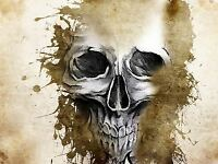 ART PRINT POSTER PAINTING DRAWING DESIGN CREEPY PAINT SPLAsH SKULL COOL LFMP0594
