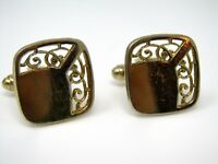 Vintage Cufflinks Jewelry: Gold Tone See Through Scrolling Design