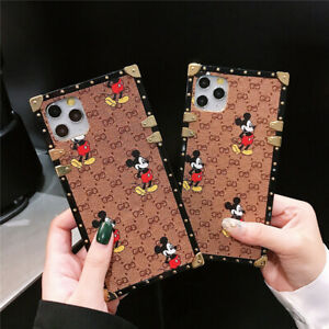 For iPhone 12 11 Pro Max 8 7 Plus Protective Mickey Patterned Square Case Cover