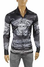 VERSACE Medusa Men's Dress Shirt Long Sleeve Navy blue/Black color 176 Size M