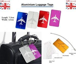 Aluminium Luggage Tags Baggage Travel Aeroplane Name Address Suitcase ID Labels