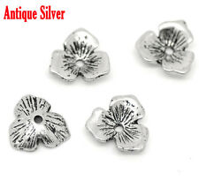 Antique Silver Three leaves bead cap – pack of 30