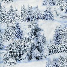 Snow Mountains White Landscape Medley Quilt Sew Fabric ELIZABETH'S STUDIO