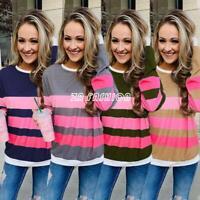 Women's Long Sleeve Striped Sweatshirt Round Neck Blouses Casual T-shirt Tops