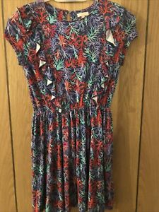 Jigsaw Junior Blue, Red & Green Coral Jersey Dress Age 10-11 Years