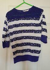 Girls H & M Blue/white Pretty Striped Flower 3/4 Sleeve Top Age 134-140