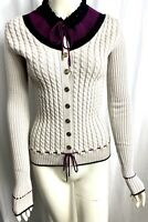 Gucci Size S Gray Purple Black Cable Knit Wool Button Down Cardigan Sweater