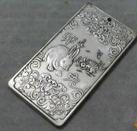 Old Chinese tibet Silver Chinese Zodiac Rabbit Bullion thanka amulet Pendant