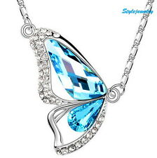 18k White Gold Filled Made with Swarovski Crystal Aqua Butterfly Necklace N62