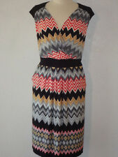 $128 New Sz.14W MAGGY LONDON ZIGZAG JERSEY Multi-Color Casual DRESS