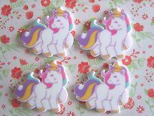 4 X dulce bebé Unicornio Flatback Planar Resina Adorno Cabello Moño Artesanías Reino Unido