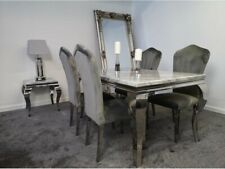 Louis Grey Marble Dining Table 160cm + 4 Grey Plush Velvet Dining Chairs