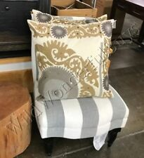"Pottery Barn SUZANI Pillow Cover Neutral 24"" Floral Embroidered Crewel Metallic"