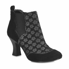 Ruby Shoo Size 41 Womens 10 Black Floral Vintage Victorian Style Ankle Boots