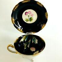 Vintage Royal Sealy Japan China Black Gold Iridescent Footed Cup Saucer Set