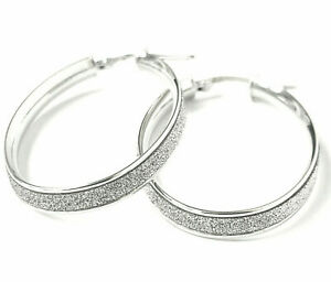 9ct White Gold Hoop Earrings Oval Ladies Glitter Effect Hallmarked Snap Close