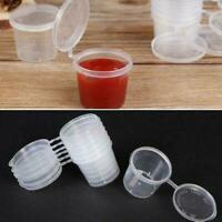 100Pcs/Set Small Plastic Sauce Cups Food Storage Containers Box Clear + J4I3