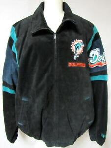 Miami Dolphins Mens XL or 2XL Embroidered Suede Soft Leather Jacket ADOL 180