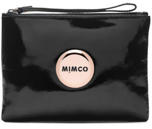MIMCO Black Medium Pouch Leather Lovely ROSE GOLD Wallet Clutch Bag BNWT New