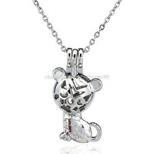 K77 Animals Cat Kitten Locket Necklace Diffuser Kid - Pearl Cage - Beads Cage