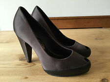 ASH LADIES BLACK/GREY LEATHER/SATIN FABRIC PEEP TOE HIGH HEELS UK4