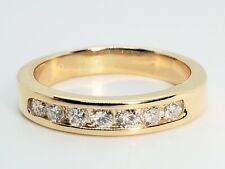.35 Ct Vs Wedding Band Size 7.5 Ring 14k Yellow Gold 4mm Wide 7 Round Diamonds