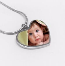 Heart Shape Photo Pendant Necklace Chain, Personalised Pic Keepsake Gift for Her