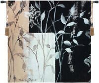 African Leaf Black/White Woven in America Wall Hanging Tapestry 53 x 53