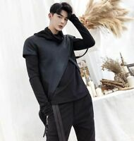Slim Fit Mens Pullover Korean Punk Sweats Hooded Tops With Cape Black T-shirts