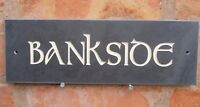 """Slate House Sign 12"""" X 4"""" Any Name / Number CELTIC LETTERING"""