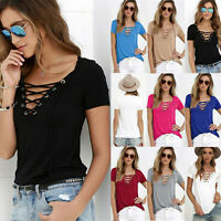 Plus Size Womens Lace Up V-Neck T-Shirt Ladies Summer Short Sleeve Tops Blouse