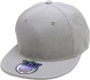 Premium Solid Fitted Cap Baseball Cap Hat, Flat Bill / Brim NEW