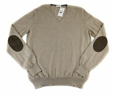 Men's COUNTRY CLUB Beige Elbow Patch Virgin Wool V-Neck Sweater 54 XL NWT