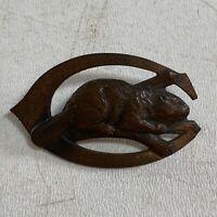 Vintage Culver Military Academy Bronze Beaver Badge Missing Pinback Original