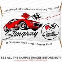 1Corvette Sting Ray Banner Garage Shop Wall Decor Chevy Chevrolet white bnd2