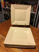 "Pottery Barn ASIAN SQUARE  Dinner Plates 10 1/2"" Set Of 4 Putty W/ Brown Edge"