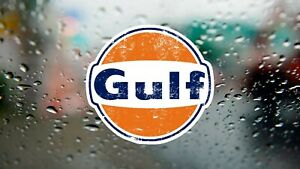 Gulf Classic Distressed F1 Racing Decal Laptop Car Window Vinyl Sticker