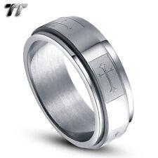 TT 8mm Stainless Steel Cross Spinner Ring Choose Size  (R14)