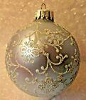 VINTAGE CHRISTMAS TREE GLASS ORNAMENT W GERMANY GLITTER SWIRL ICE BLUE VICTORIAN