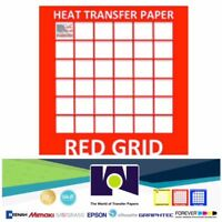 "RED GRID INK JET IRON ON HEAT TRANSFER PAPER LIGHT COLORS 10 Sheets PK 8.5""x11"""