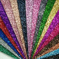 Ultra Chunky Plain Glitter Fabric A4 Or A5 Sheets Faux Leather For Bows & Crafts