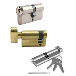 THUMB TURN CYLINDER DOUBLE NICKEL PLATED SUPPLIED WITH 3 KEYS 5 PINS CODE 3002