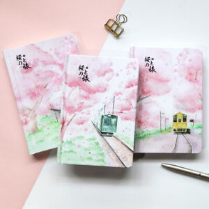 """""""Sakura Trip"""" 1pc Hard Cover Journal Diary Colored Papers Girls Cute Planner"""